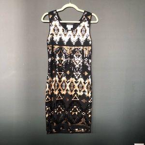 Carmen Marc Valvo Sequin Black and Gold Dress